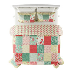 LHC 3-Piece Sweet Dreams Patchwork Floral Bed Set, Full/Queen
