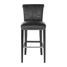Safavieh Seth Barstool, Leather With Nail Head, Black Croc/Black