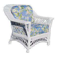 Bar Harbor Arm Chair in White, Monocco Sahara Fabric