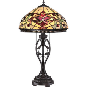 Traditional Bronze Table Lamp With Tiffany Glass