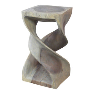Haussmann® Wood Double Twist Stool Table 12 in SQ x 23 in H Grey Oil