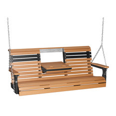5' Poly Rollback Porch Swing, Cedar/Black