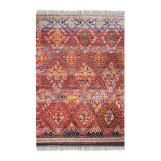Wool Red Yellow Ikat Area Rug, 8'x10' Fringe Antique-Style Oriental
