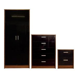 Khabat Bedroom Furniture Set, Black and Walnut