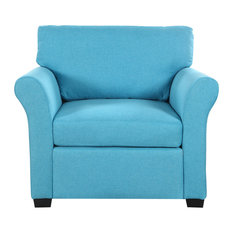 Classic And Traditional Linen Fabric Accent Chair Living Room Armchair Blue