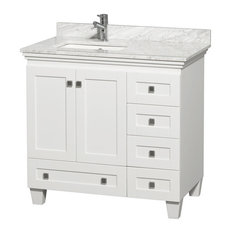 "36"" Single Bathroom Vanity in White, Marble Countertop, Undermount Sink"