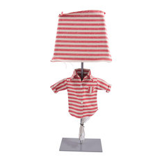 Striped Bob Table Lamp, Red