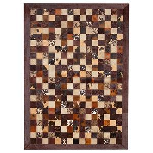 Patchwork Cubed Cowhide Rug, Brown Grabados Brown Border, 200x300 cm