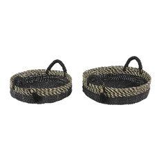 Checkered Round Seagrass Basket Trays, Set of 2