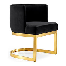 Gianna Velvet Dining Chair, Black, Gold Base