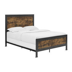 Walker Edison BQAWRW Queen Size Industrial Wood And Metal Bed - Brown