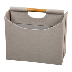 Modern and Sleek Two-Compartment Beige Magazine Storage Bin with Bamboo Handle