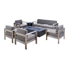 7-Piece Coral Bay Outdoor Club Chair Set With 3 Seat Loveseat and Firepit, Gray
