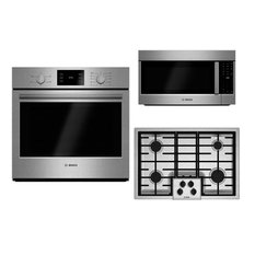 """3-Piece Kitchen Appliance Package with HBL5351UC 30"""" Electric Single Wall Oven"""
