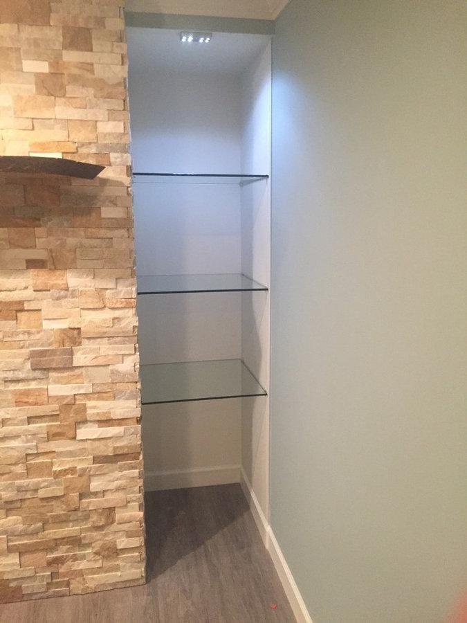 Glass shelves with motion light