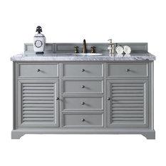 "Savannah 60"" Single Vanity Cabinet, Urban Gray, 4CM Carrera White Stone Top"