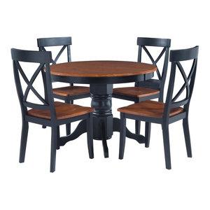 Home Styles 5 Piece Round Pedestal Dining Set in Cottage Oak