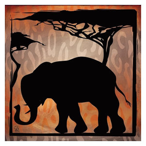 African Wild Elephant by Wild Apple Animal Safari Print Poster 12x12