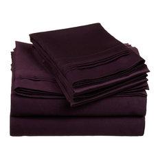 Solid Egyptian Cotton Full Deep Pocket Sheet Set, Plum