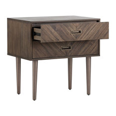 Acacia Wood Night Stand With Two Drawers