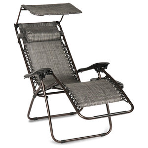 Zero Gravity Canopy Sunshade Outdoor Lounge Chair With Cup Holder Gray