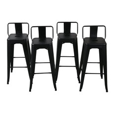Belleze - Low Back Indoor/Outdoor Black Stools, Set of 4, Bar Height - Outdoor Bar Stools and Counter Stools
