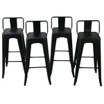 """Belleze - Low Back Indoor/Outdoor Stool, Set of 4, Black, 30"""" Low Back - Crafted for a warm yet industrial appeal, this dining chair offers a spacious seat and durable frame. The curved back design smoothly connects to the singular back panel, allowing an open and airy environment."""