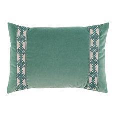 Velvet Lumbar Pillow With Amalfi Tape, Viridian