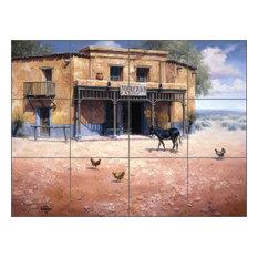 """Ceramic Tile Mural Backsplash, Mercado by Jack Sorenson, 32""""x24"""""""