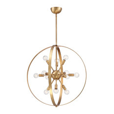 Marly 12 Light Chandelier, Warm Brass