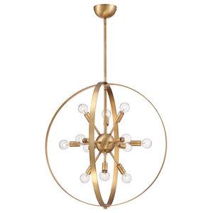 Marly 12 Light Chandelier, Warm Brass