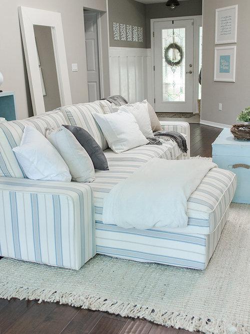 Nautical Themed Living Room Custom Sofa Slipcover by Comfort Works