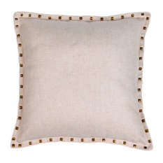 "Studded Herringbone Pillow, Natural, 20""x20"""