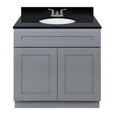 Cherry Bathroom Vanity 36-inch Absolute Black Granite Top Faucet LB3B