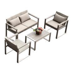 4-Piece Medici Aluminum Sofa and Chair Patio Set