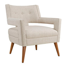 Modern Contemporary Urban Design Living Lounge Room Armchair, Beige, Fabric