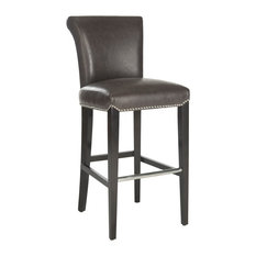 Safavieh Seth Barstool, Leather With Nail Head, Antique Brown/Espresso