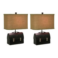 Set of 2 Retro 50's Lunch Box Table Lamps Rectangular Burlap Shades