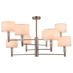 Modern Cylindrical Flush Mount Chandelier, 8 Bulbs