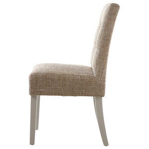 Beige Tweed Stitched Waffle Chairs, Beige and Grey, Set of 2