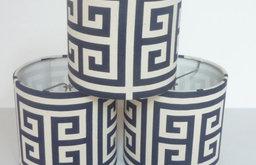 Drum Chandelier Lampshades, Navy Greek Key by Lamp Shade Designs