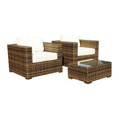 Outdoor Patio Furniture All Weather Wicker Arm Chairs, 3-Piece Set