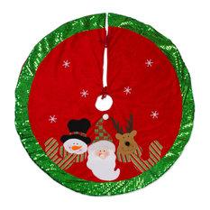 DII Santa and Snowman Holiday Tree Skirt