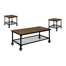 Industrial 3-Piece Coffee And Two End Tables Set Metal Grid Lower Bottom Shelf