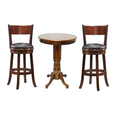 Boraam 3 Piece Pub Table Set in Walnut