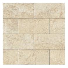 "Marmi di Napoli 12""x24"" Stone Look Porcelain Field Tile, Creme Brulee"