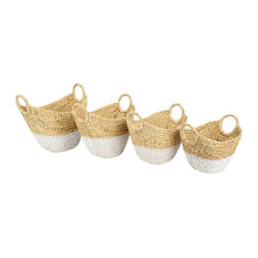 Dip-Dyed Water Hyacinth Wicker Storage Baskets With Round Handles, Set Of 4