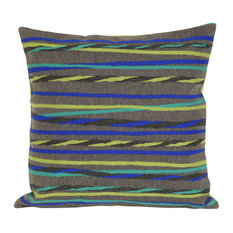 "Twisted Stripe Grey Pillow - 20"" SQ"