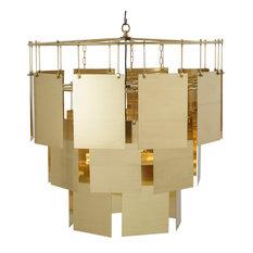 Kelly Hoppen Marilyn Modern Classic Cascading Brass Sheets Tiered Chandelier