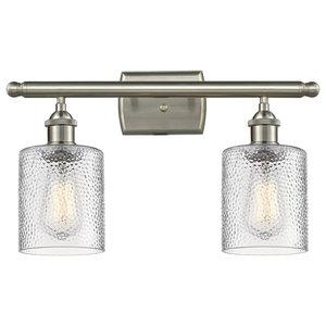 Cobbleskill 2-Light Bath Fixture, Clear Ripple Glass, Satin Brush Nickel